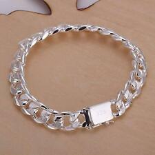Fashion Jewelry 925 Sterling Silver 10 mm Square Buckle Sideways Chain Bracelet