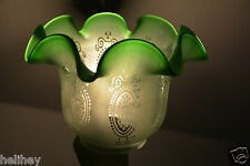 "Exceptiona Org. Victorian 4"" duplex emerald green glass oil lamp tulip/shade"