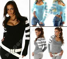 Sweater Striped Jumper Ladies Womens V Neck Bolero Top One UK size S M L 8 10 12