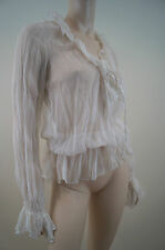 MOTEL Off White Sheer Long Sleeve Cover Up V Neck Blouse Top IT44; UK12