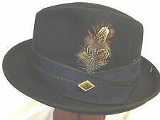 STACY ADAMS WOOL PORK PIE FEDORA Medium WOOL HAT M 7 1/8 BLACK / BLUE