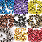 50Pcs 5 Colors Metal Loose Spacer Round Big Hole Bead Charms Jewelry Craft 6mm