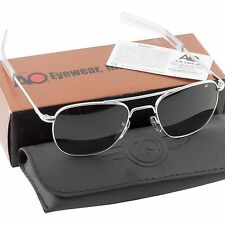 AO American Optical Military Aviator Silver Frames 57 mm Sunglasses Gray Lens