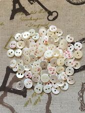 100 Vintage Mother of Pearl 2-hole small Buttons 10mm White Baby Dolls clothing
