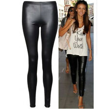 New Ladies Sexy Shiny Wet Look Black Leather Full Ankle Length Leggings #J74