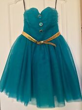 BETSEY JOHNSON TEAL TULLE DRESS SIZE 4 WITH BELT