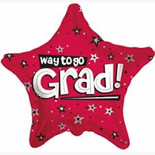 "18"" Red Way to Go Grad Star Balloon Party Decoration Congratulations Graduate"