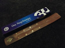 Om Nagchampa Incense Sticks 15g Box & Spade Brass Inlaid Wooden Ash Catcher