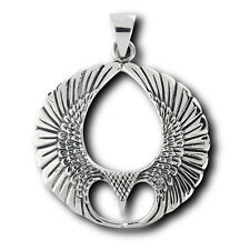 Indian Style Silver EAGLE - HAWK Feathers Pendant