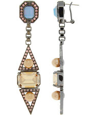 MAWI LONDON Hematite Plated Crystals and Pearl Drop Earrings BNIB