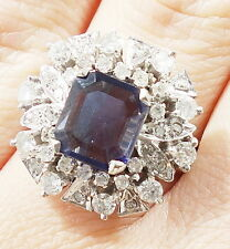 14k Solid Gold Diamond Iolite Ring Massive Stone Can Be Sized Free Shipping e