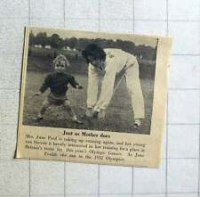 1956 Mrs June Paul With Her Young Son Stephen In Training
