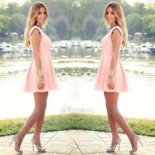 Sexy Women Summer Casual Sleeveless Evening Party Cocktail Short Mini Dress Pink