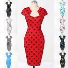 CHEAP~ 50'S RETRO VINTAGE STYLE POLKA DOT FLORAL PENCIL WIGGLE DRESS