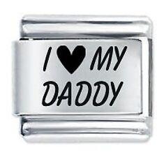 I Love My Daddy-DAISY CHARMS da JSC accoppiamenti Classic Taglia Italiana Bracciale con Charm