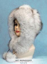 WHITE FOX Winter Fur Eskimo Hat Pom-Poms Chapka Pelzmütze Fellmütze Fuchs Mütze