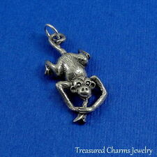 Silver MONKEY with BANANA Jungle CHARM PENDANT (Movable) *NEW*