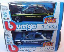 1:43 Scale Bburago 2 x Alfa Romeo 156 Cars - POLIZIA & Guarda Di Finanza - BNIB