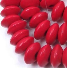 12x5mm Red Wood Rondelle Abacus Beads 16""