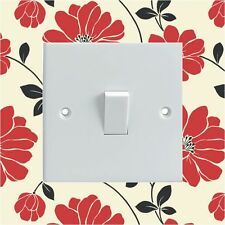 Black Cream Red Flowers Electrical Light Switch Surround Printed Vinyl Sticker
