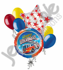 7 pc Fire Truck Happy Birthday Balloon Bouquet Party Decoration Red Fighter
