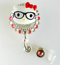 "Bling Hello Kitty 26mm/ 1"" Retractable Reel ID Badge Holder_RED Bow 1pc"