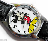NEW DISNEY MICKEY MOUSE WATCH NEW Stainless Steel LEATHER  FILM WATCH MICKY  UK