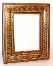 Persian Micro Mosaic Picture Frame Inlaid Brass and Bone Stars