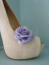 2 Lilac Glittery Flower Clips for Shoes