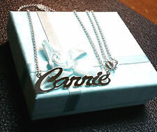 """NAME SINGLE PLATE SILVER PERSONALIZED CHOOSE NAME NECKLACE """"Made in USA"""" NewYork"""