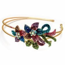NEW Multi-color Flowers Austrian Crystal High Quality Metal Roses Headband #892