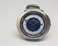 USED VINTAGE FORTIS BLUE&WHITE DIAL DATE AUTO MAN'S WATCH