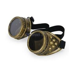 Antique Victorian Steampunk Cyber Goggles Glasses Welding Gothic Cosplay Brass