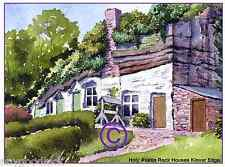 "ROCK HOUSES NR KINVER SOUTH STAFFS WATERCOLOUR ARTISTS PRINT ART CARD 8""x 6"""