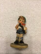 Hummel Look-Alike Porcelain Boy Playing A Musical Instrument Figurine