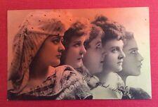 CPA. 1905. Profils de 5 Jeunes Filles. Tons Rouge Vert.