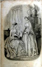 FASHION, GRAHAM'S PARIS FASHION, LE FOLLET FRENCH MODE, ANTIQUE PRINT 1849 F