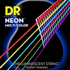 DR NEON NMCA Multi Colour Luminescent Fluorescent Acoustic Guitar strings 12-54