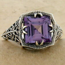 COLOR CHANGING SIM ALEXANDRITE ANTIQUE STYLE 925 STERLING SILVER RING SZ 9, #906