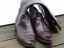 Women Bitter Spain Pointed Sided Zip Fastening Brown Leather Boots Size 40