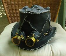 BLACK LEATHER HAND STITCHED ROCK / METAL GUNS 'N ROSES STEAMPUNK HAT W. GOGGLES
