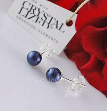 STUDS EARRINGS SWAROVSKI ELEMENTS PEARL NIGHT BLUE 6mm STERLING SILVER 925