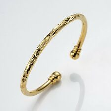 Women Gift 18k Yellow Gold Filled Open Charms Bangle Bracelet Fashion Jewelry