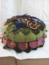 Mackenzie Childs RETIRED Upscale PANSY PETAL Footstool OTTOMAN Tuffet NEW