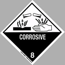 "4"" x 4"" CORROSIVE Decal - Hazard Sticker Warning Label DOT OSHA Man Cave Lab"