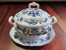 Blue Danube Blue Onion Large Tureen &  Under Plate Japan Excellent