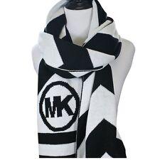 MICHAEL Michael Kors Chevron Stripe Logo Long Black White Scarf