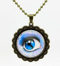 Vintage Stained Eye Cabochon Bronze Chain Pendant Necklace NE-91