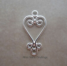 24 silver plated jewelry link connector chandelier drop heart design