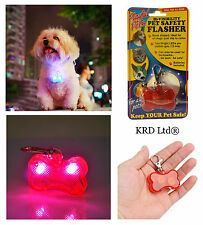 Safety LED Flasher Tag Hi Viz Dog Collar Cat Pet Visibility Lead Flashing Light